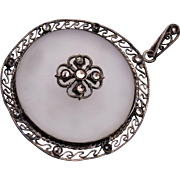Old Camphor Glass and Marcasite Pendant