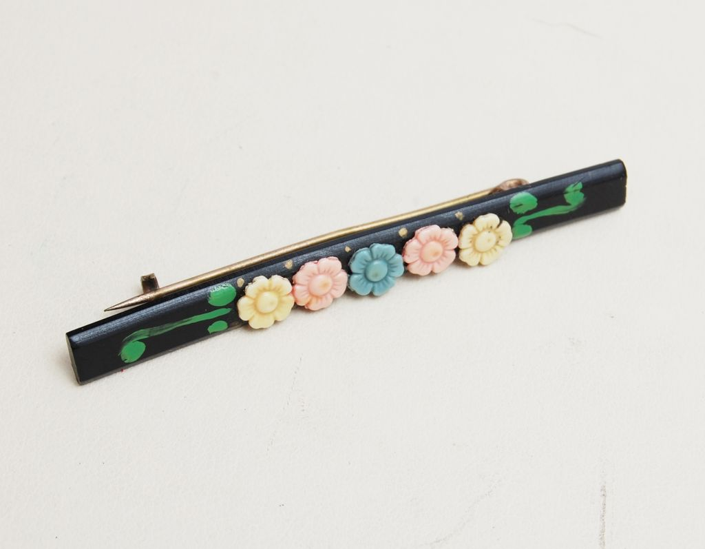 Black and Pastel Celluloid Flower Brooch