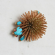 14kt Gold Figural Porcupine With Turquoise and Ruby Eyes