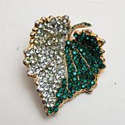 Hattie Carnegie Green Rhinestone Leaf Brooch