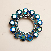Blue Green AB Rhinestone Brooch
