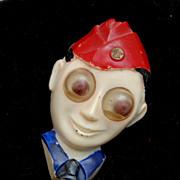 Celluloid Sweetheart Pin - Google Eyes