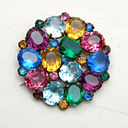 Multi Colored Faceted Rhinestone Brooch