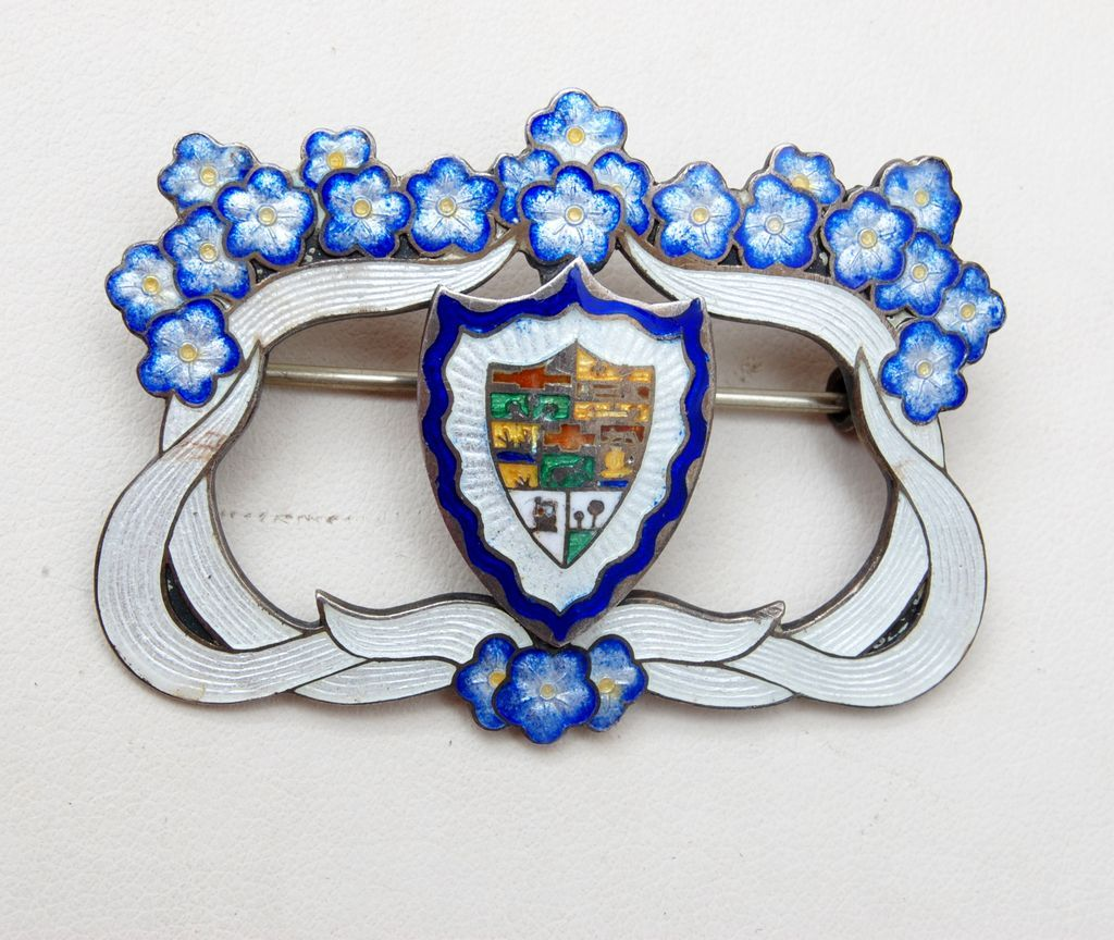 Sterling and Enameled Brooch Signed