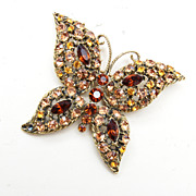 Shades of Brown Rhinestone Butterfly Brooch