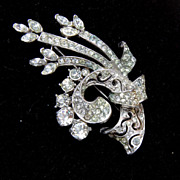 Beautiful Pierced Metal and Rhinestone Brooch