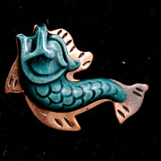 Wonderful Copper and Porcelain Fish Brooch