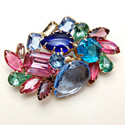 Colorful Unfoiled Open Backed Brooch - Has Everything!