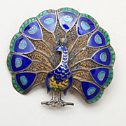 Beautiful Silver Filigree and Enameled Peacock Brooch