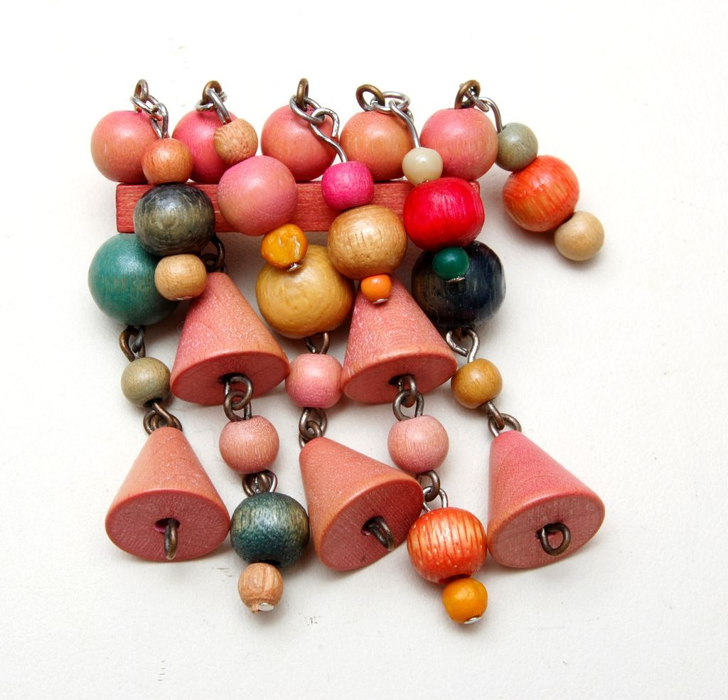 Colorful Wooden Czech Dangle Brooch