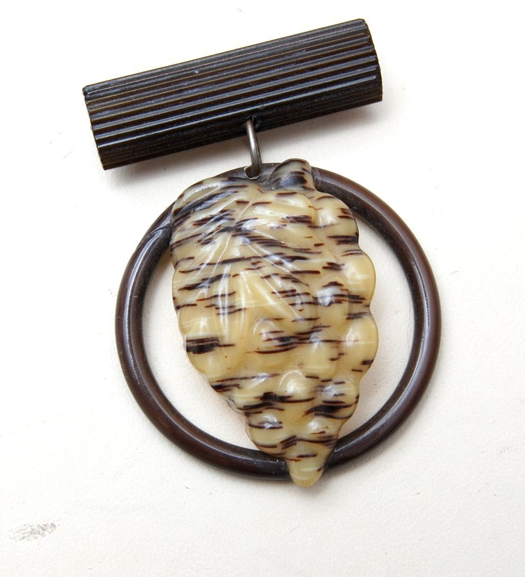 Molded Celluloid Bee Hive Brooch