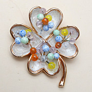 Kramer Enameled and Colored Glass Brooch