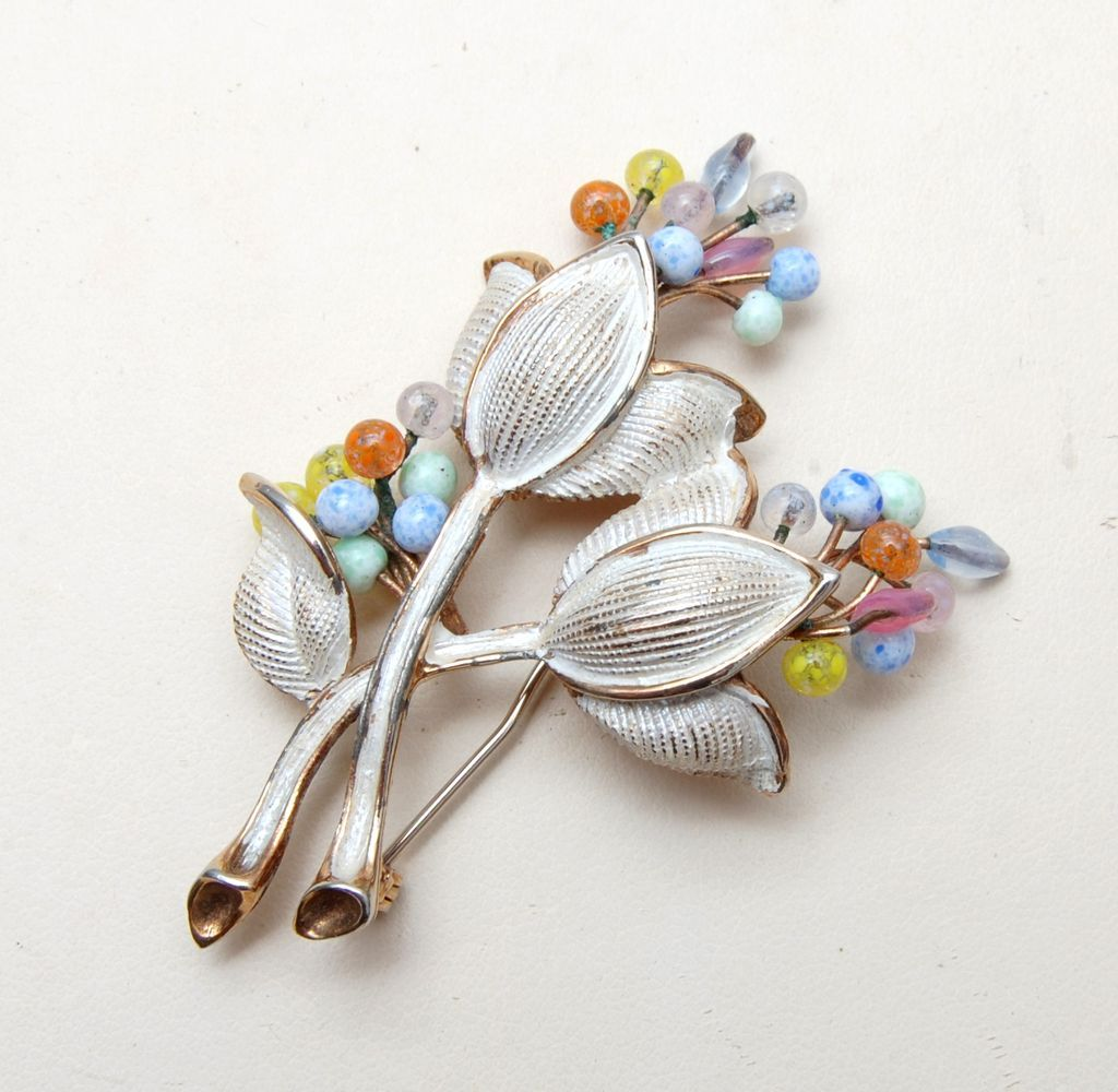 Kramer Enameled and Colored  Glass Flower Brooch