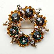 Rivoli Crystal and Rhinestone Brooch