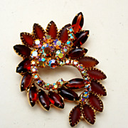 Brown  Satin Glass and AB Rhinestone Brooch