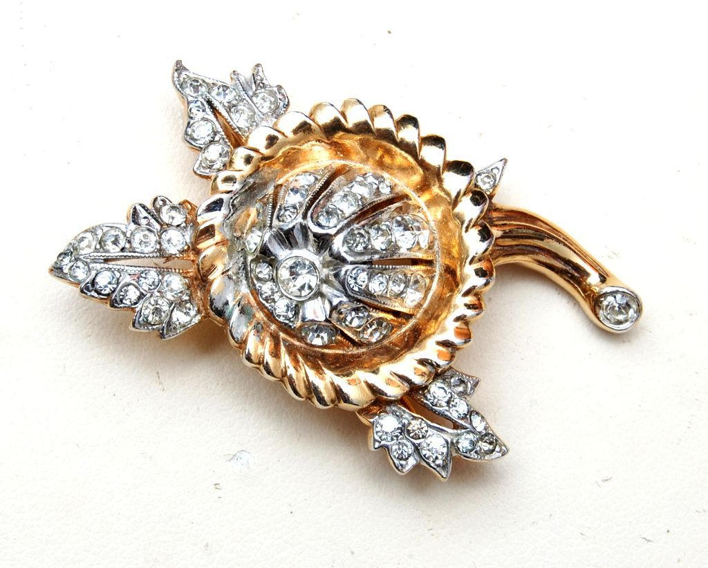 Gold Washed and Rhinestone Brooch