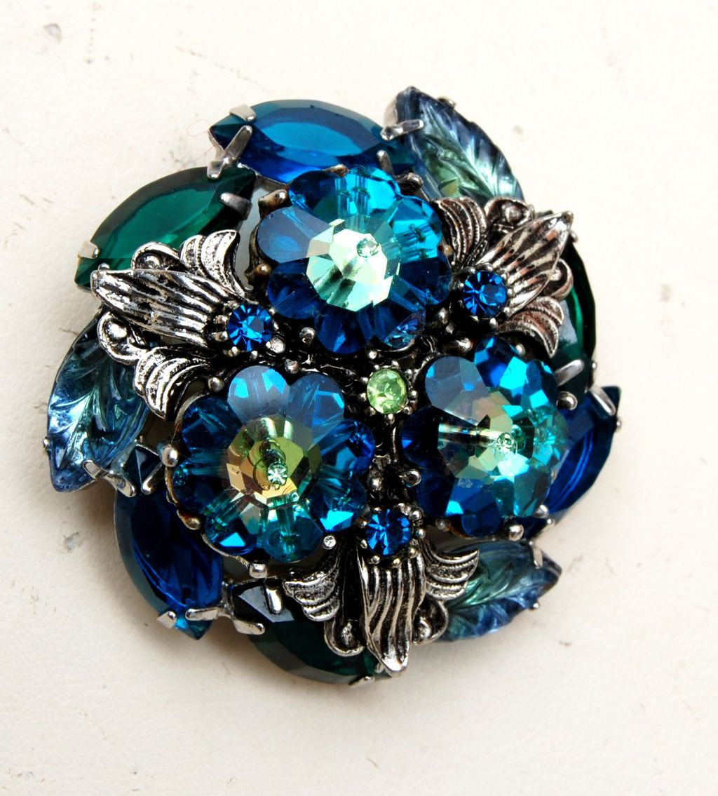Blue Rivoli or Margarita Stone and Molded Glass Stone Brooch