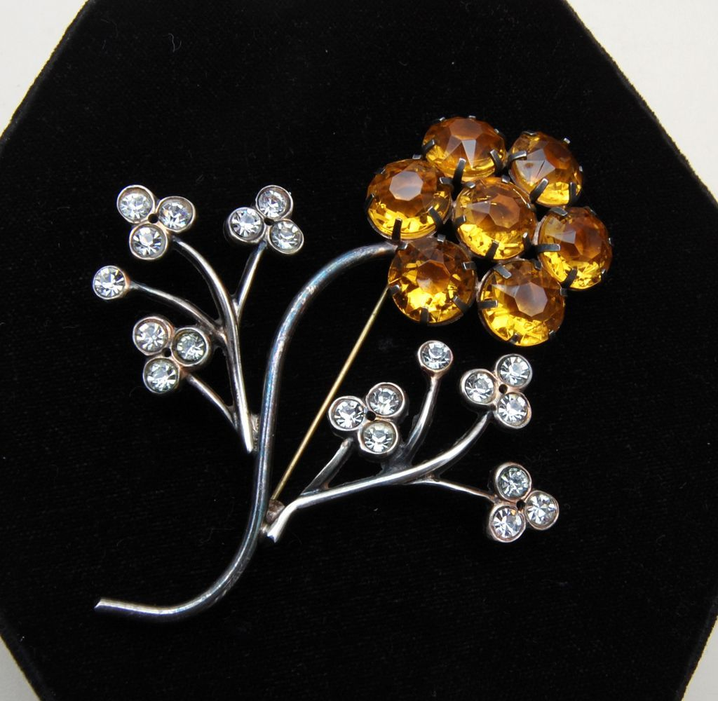 Sterling and Topaz Rhinestone Flower Brooch