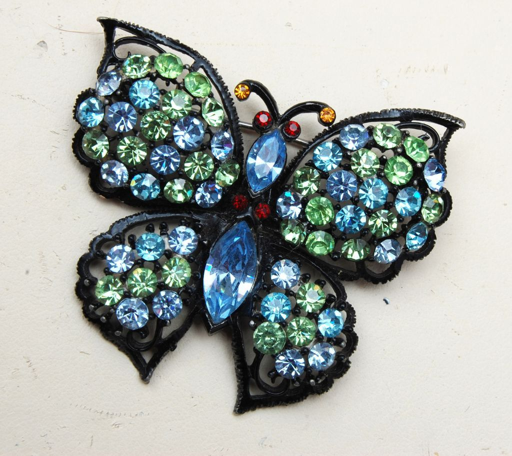 Japanned Metal Butterfly Brooch With Blue and Green Rhinestones