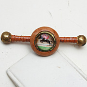 Leather Jumping Horse Under Glass Brooch