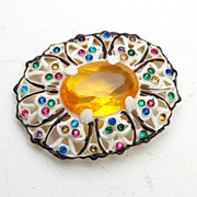 Celluloid and Colorful Rhinestone Brooch