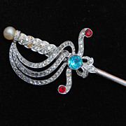 Fabulous Large Rhodium Plated Rhinestone Sword Brooch