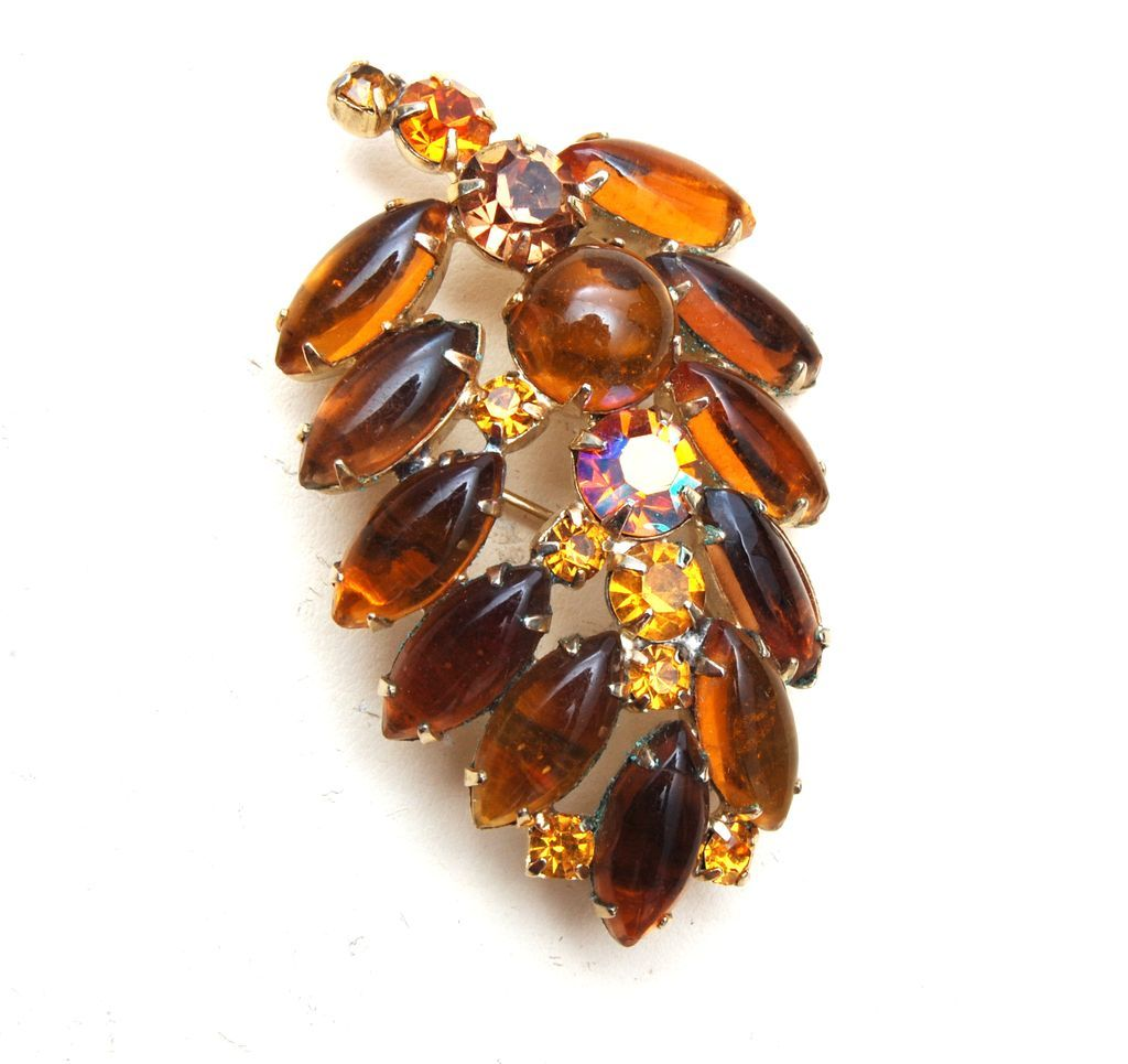 Weiss Topaz Colored Leaf Brooch