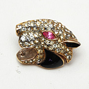 Eisenberg Enamel and Rhinestone Large Cat Brooch
