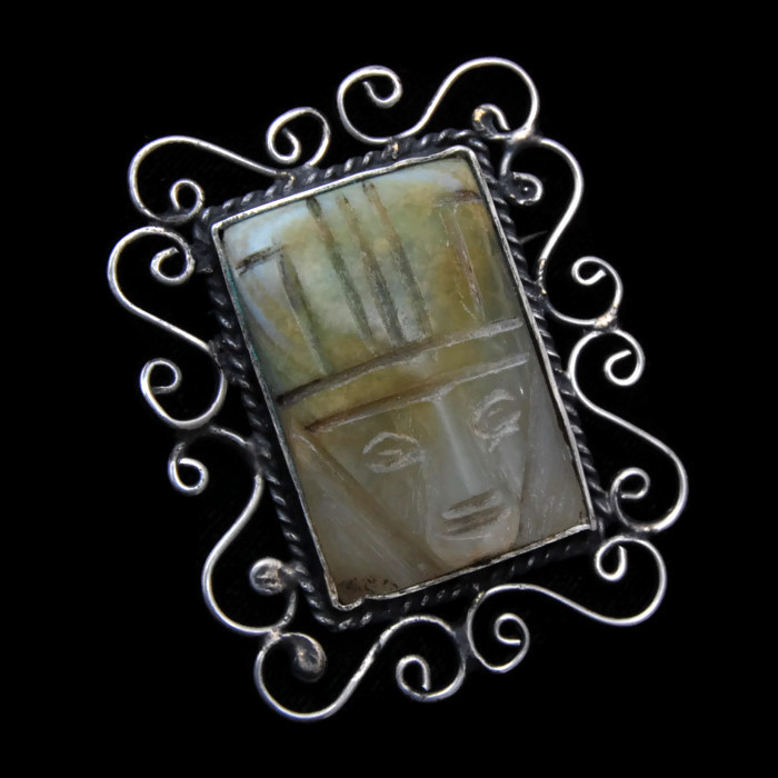 Mexico Silver and Carved Green Stone Face Brooch