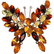 KJL Topaz Givre' and Lava Stone Butterfly Brooch