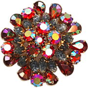 Red AB Rhinestone and Lava Stone Brooch
