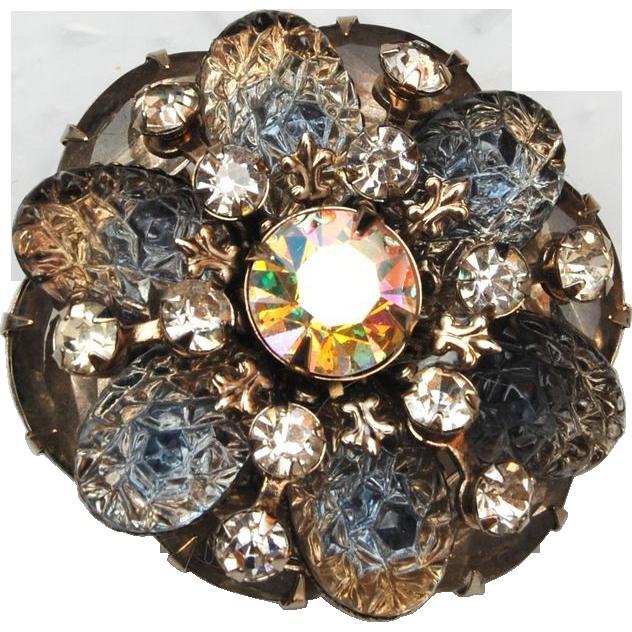 Lava Glass Stone Gray Brooch