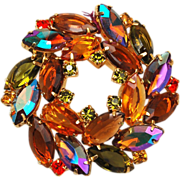 Topaz and AB Rhinestone Brooch