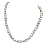 10kt Gold Clasp and Tied In Between Real Cultured Pearls