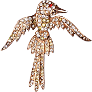 1940's Vermeil Sterling Falcon Brooch