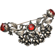 Reinad Pot Metal and Pink Rhinestone Brooch