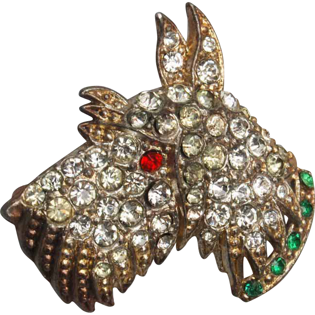 Pot Metal Scott Dog Brooch Pave' With Rhinestones