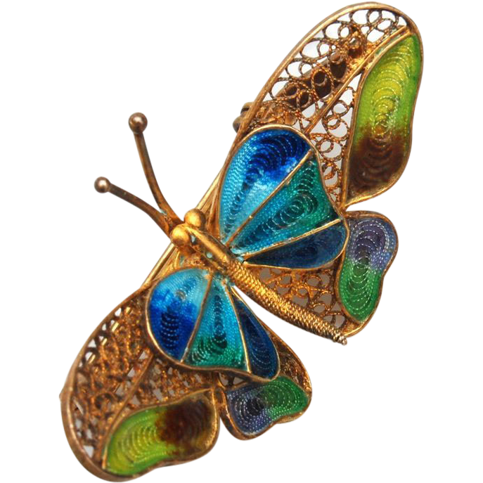 Chinese 800 Silver Enameled Butterfly Brooch