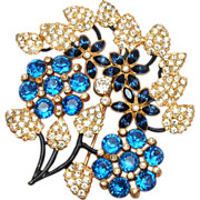 Blue Rhinestone Brooch - Excellent Condition