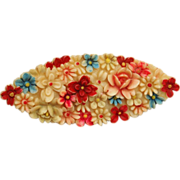 Colorful Japan Signed Celluloid Brooch