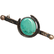 Horse Shoe Sterling Brooch With Turquoise