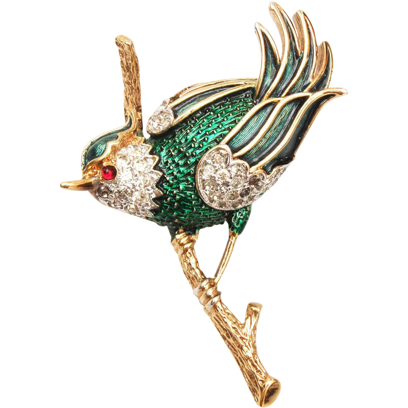 Panetta Enamel and Rhinestone Bird Brooch