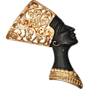 Black Woman With Ornate Headdress Brooch