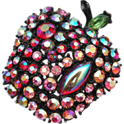 ART signed Apple Rhinestone Brooch