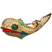 Alice Caviness Sterling Germany Enamel Fish Brooch