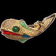 Alice Caviness Sterling Germany Enamel Fish Brooch