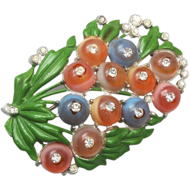 Pot Metal, Enamel and Glass Shoe Button Brooch