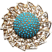 Jomaz Pre 1955 Turquoise and Rhinestone Brooch