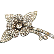 Pot Metal Pave' Set Rhinestone Brooch