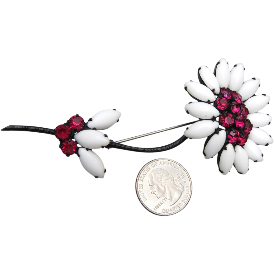 Large Milk Glass and Dark Pink Rhinestone Daisy Brooch